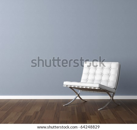 Interior design scene with a modern white chair and lamp on blue wall, copy space in the wall - stock photo