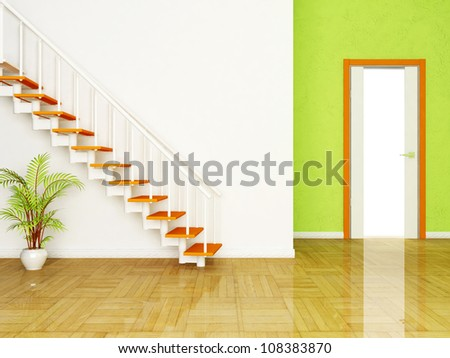 Interior design scene with a plant and the stairs, the door - stock photo