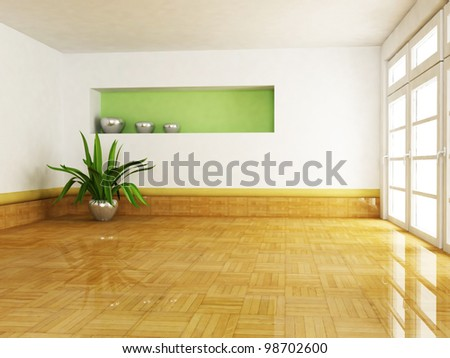 Interior design scene with a plant in the empty room - stock photo