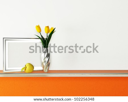 Interior design scene with a shelf and a vase, a picture