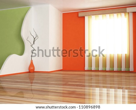 interior design scene with a vase and the window - stock photo