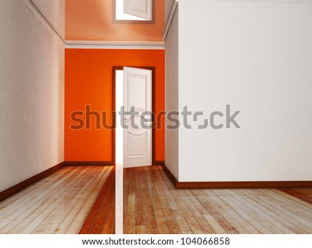 Interior design scene with an open door - stock photo