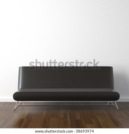interior design scene with modern black leather couch on white wall - stock photo