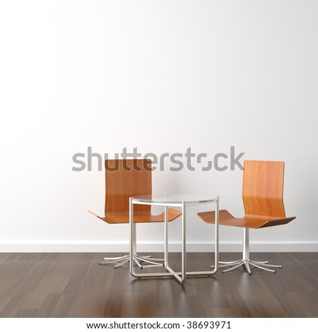 interior design scene with two wooden chairs and a table on a white wall with copy space