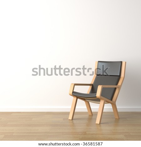 interior design scene wood armchair with leather on a white wall background with copy space - stock photo