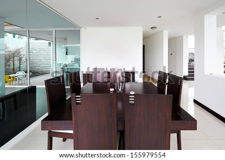 Interior design series: Modern Dining room with big empty white wall