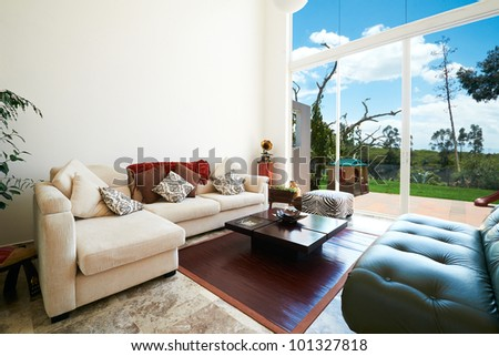Interior design series: Modern living room - stock photo