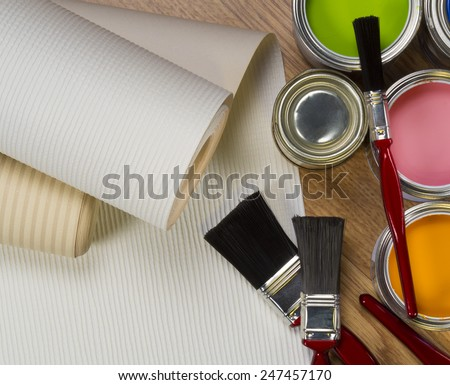 Interior Design - wallpaper and water-based paints used in painting and decorating. - stock photo