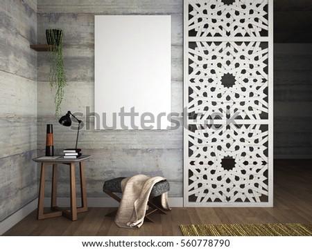 Interior design with arabesque, 3d illustration