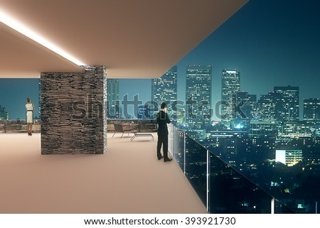Interior design with businesspeople and panoramic view of illuminated night city. 3D Render - stock photo