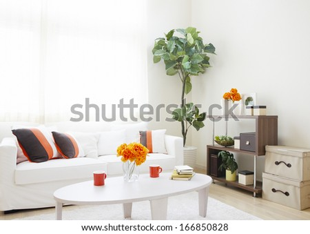 Interior design with couch - stock photo