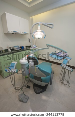 Interior design with equipment in a dentist surgery clinic