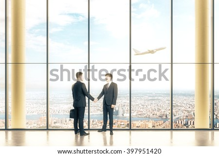 Interior design with large windows and two businessmen shaking hands. 3D Rendering - stock photo
