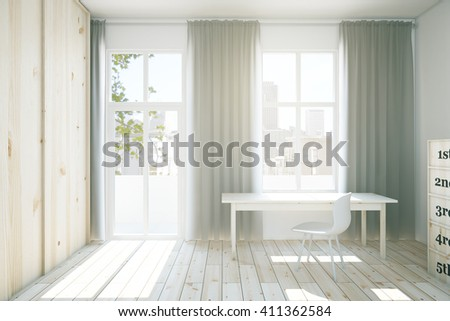 Interior design with light wooden wardrobe, parquet, workplace and windows with curtains. 3D Rendering - stock photo