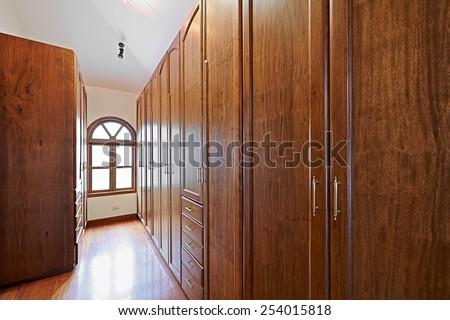 Interior design: Wooden closet - stock photo