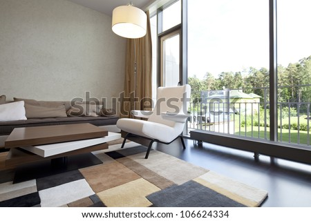 Interior designer living room with a view - stock photo