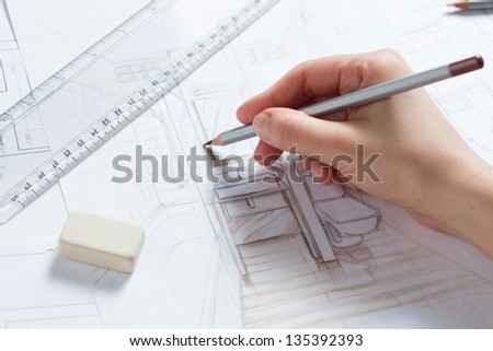 Bathroom drawing stock images royalty free images - Hand drafting for interior design ...