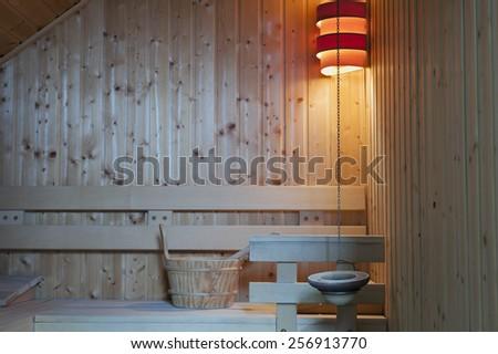 Interior detail of modern Finnish sauna - stock photo