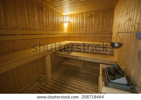 Interior detail of sauna room in health club spa - stock photo