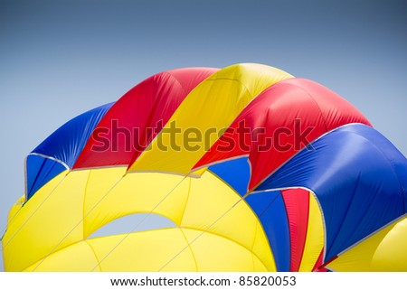 Interior details of a colorful parachute