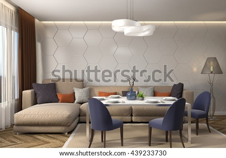 Interior dining area. 3d illustration - stock photo
