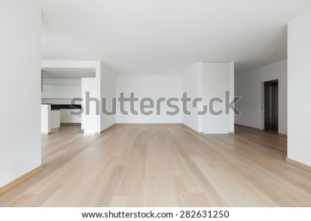 Interior, empty living room of a modern apartment - stock photo