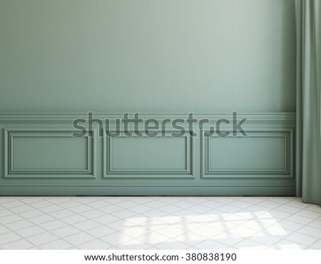 Interior. Empty room with dack wall and light rug. 3d render. - stock photo