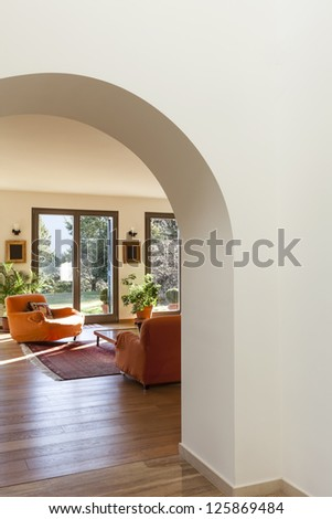 interior, furnished apartment, view of living room from hall - stock photo