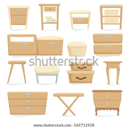 Bedside table clipart  Interior Furniture Set Bedroom Furniture Bedside Stock Vector ...