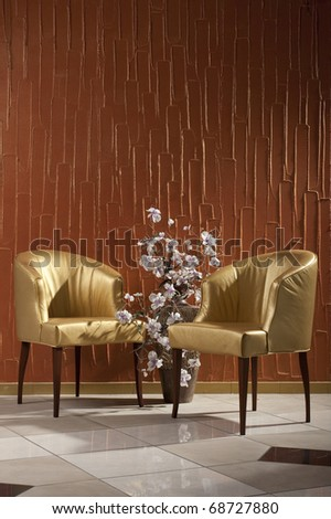 interior furniture two chairs - stock photo