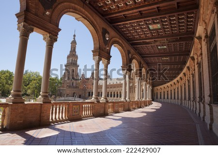 Interior gallery in Spain Square (Plaza de Espana) which is in the Maria Luisa Park, in Seville. It is a landmark example of the Renaissance Revival style in Spanish architecture.