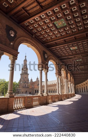 Interior gallery in Spain Square (Plaza de Espana) which is in the Maria Luisa Park, in Seville. It is a landmark example of the Renaissance Revival style in Spanish architecture. - stock photo