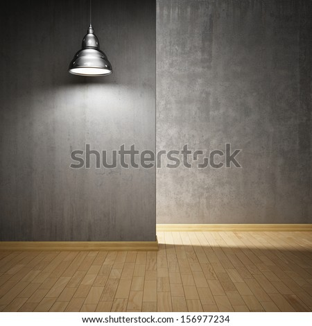 Interior hall with concrete walls and lamp - stock photo