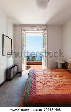Interior home, nice bedroom, double bed