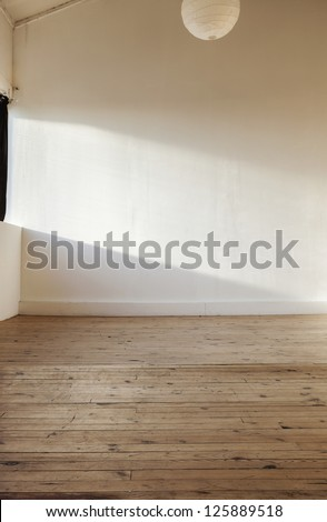 interior home, white wall and wooden floor - stock photo