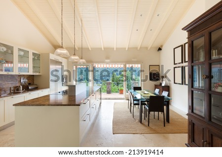Interior, home, wide domestic kitchen, dining room view - stock photo