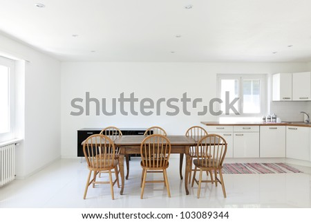 interior house, large modern kitchen, dining table - stock photo