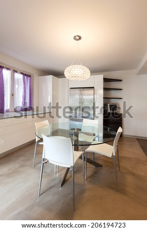 interior house, nice domestic kitchen with dining table