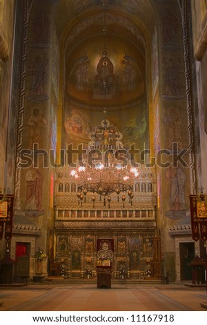Interior image from the Orthodox Cathedral in Cluj-Napoca,Romania. - stock photo