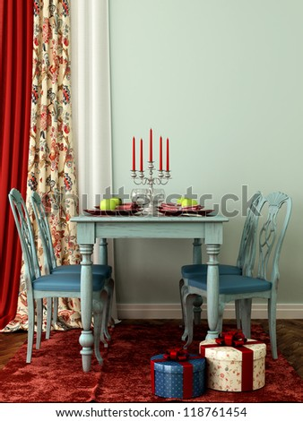 Interior in celebratory blue and red colors with laid table and chairs