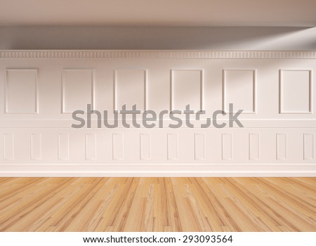 Interior in classic style, parquet floor. 3D illustration - stock photo