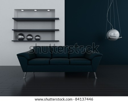 interior in dark blue tones with a sofa and lamp - stock photo