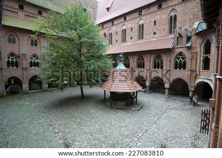 Interior in greatest Gothic castle in Europe - Malbork. Teutonic castle. World Heritage List UNESCO.  - stock photo