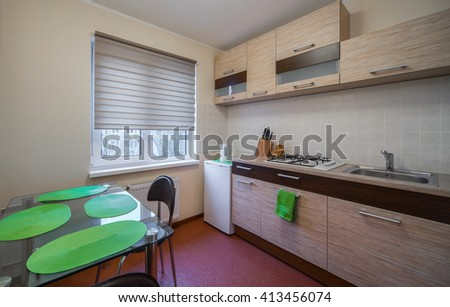 Interior in modern flat. Kitchen.