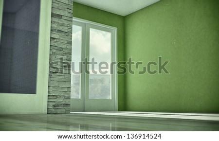 interior in old grunge photo - stock photo