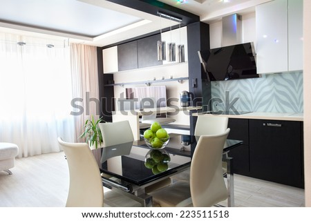 Interior kitchen. Modern kitchen. Parlour - stock photo