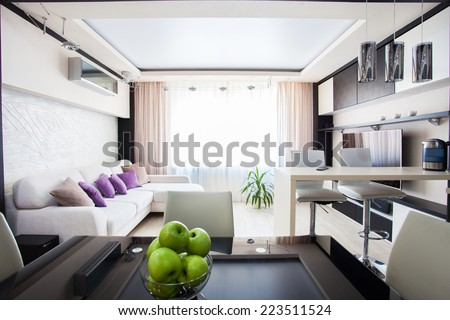 Interior kitchen. Modern parlour. Hall - stock photo