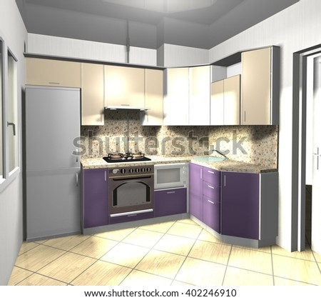 interior kitchen purple beige 3D rendering