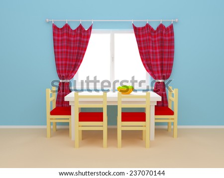Interior kitchen window with curtains and dining table with chairs. 3d illustration. - stock photo