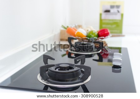 Interior kitchen with electric - stock photo
